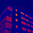 Glassy office building in thermal imaging simulation — Stock Photo