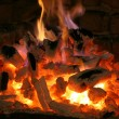 Big fire from a big fireplace — Stock Photo