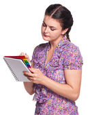 Woman with notebook — Stock Photo