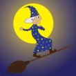 Royalty-Free Stock Vector Image: Young merlin-flying by using a broom in night time