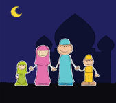 Muslim family at mosque — Stock Vector