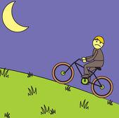 Cicloturismo a mezzanotte — Vettoriale Stock