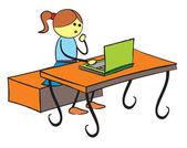 Dziewczyna za pomocą laptopa — Wektor stockowy