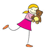 Girl with teddy bear — Stock Vector