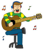 Man Singing with Guitar — Stock Vector