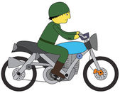 Soldier riding motorcycle — Stock Vector