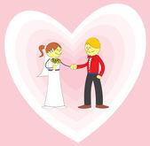 Wedding couple in love — Stock Vector