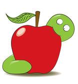 Green worm eating apple — Stock Vector
