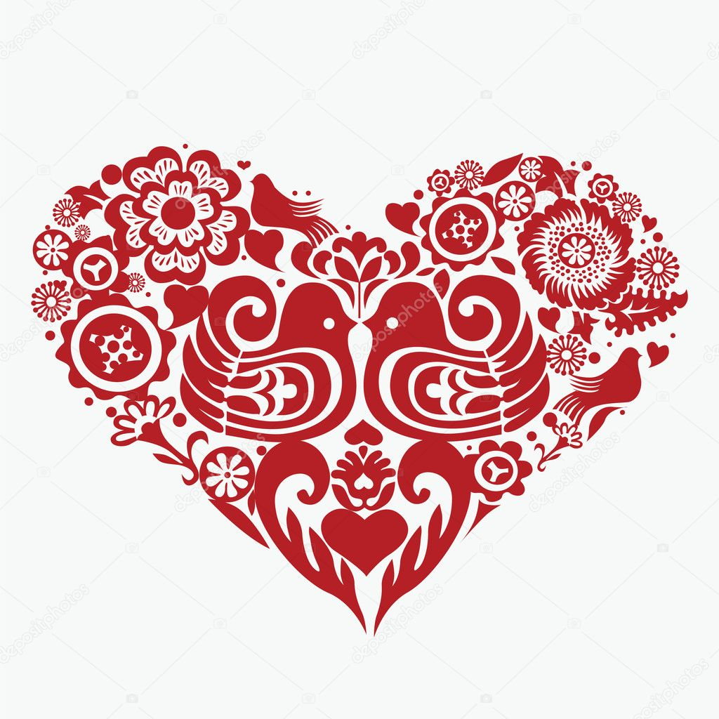 Vintage kissing birds heart — Stock Vector #12213370