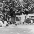 Stock Photo: Mobile home in trailer park, 1956
