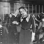 Weary telephone operator — Stock Photo