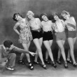 Director working with female dancers — Stock Photo