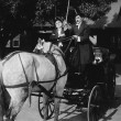 Gentlemen driving carriage with horse hitched backwards — Foto Stock
