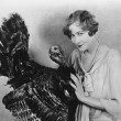 Portrait of woman with live turkey — Stock Photo