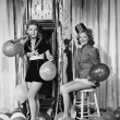 Stock Photo: Women with balloons on New Years Eve