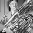 Stock Photo: Portrait of mplaying tuba