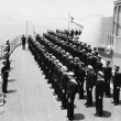 Sailors at attention on naval ship — Stock Photo