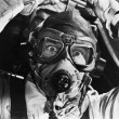 Closeup of aviator in mask - Stock Photo