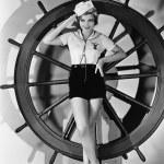 Portrait of woman in sailor costume — Stock Photo