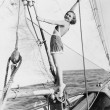 Portrait of woman on sailboat - Stock Photo