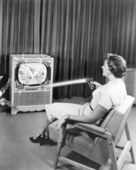 Early Zenith remote control TV set, June 1955 — Stok fotoğraf