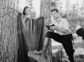 Roughing it in the woods — Stock Photo