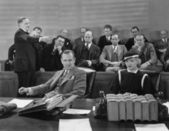 Defendants with lawyer and jury — Stock Photo