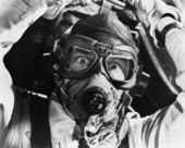 Closeup of aviator in mask — Stockfoto