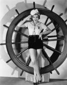 Denizci kostümlü kadın portresi — Stok fotoğraf