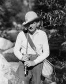 Portrait of female fisherman — Stock Photo