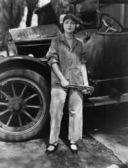 Retrato do mecânico feminino — Foto Stock