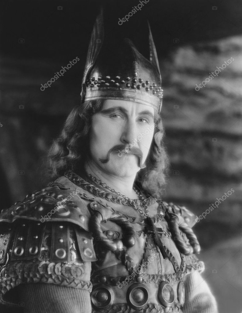 Portrait of man in Viking costume  Stock Photo #12288924
