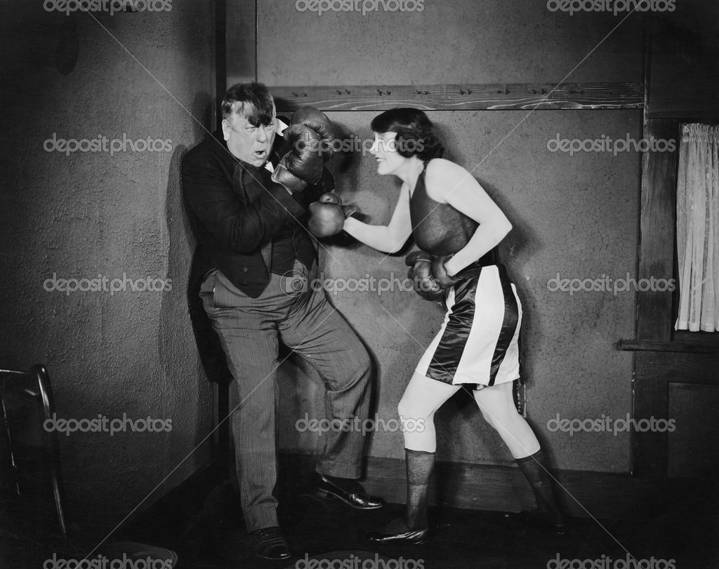 Man and woman boxing  Stock Photo #12289950