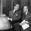 Businessmen with globe — Stok fotoğraf