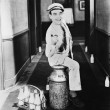Portrait of happy milkman — Stock Photo
