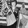 Woman with American flags — Stock Photo #12291134