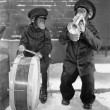 Stock Photo: Chimpanzees playing music