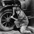 Portrait of female mechanic working — Stock Photo