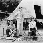 Three boys camping — Stock Photo