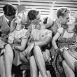 Three couples romancing and kissing — Foto Stock