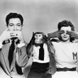 Man, woman and a monkey depicting See No Evil, Speak No Evil, Hear No Evil - Стоковая фотография