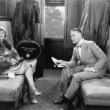 Stock Photo: Couple sitting together in compartment of train