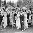 Wedding party toasting to the bride and groom - Stock Photo
