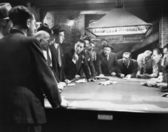 Mobsters meeting around pool table — Stock Photo