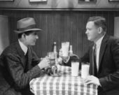 Two male friends in cafe — Stock Photo