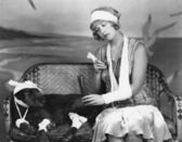 Injured woman and injured dog — Stock Photo