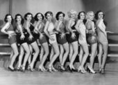 Line of female dancers — Stock Photo