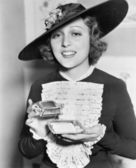 Woman with cigarette case — Stock Photo