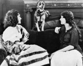 Dos mujeres en sofá con perro — Foto de Stock