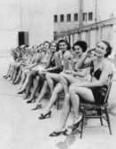 Group of women sitting together on chairs — Foto de Stock